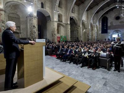 Il Presidente della Repubblica Sergio Mattarella durante la Cerimonia di Inaugurazione dell'a.a. 2016-17