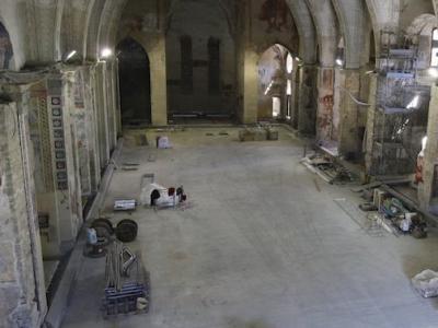 Lavori di restauro all'interno dell'Aula Magna UniBg